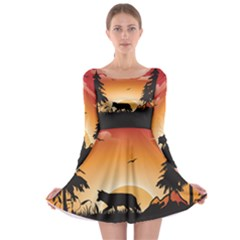 The Lonely Wolf In The Sunset Long Sleeve Skater Dress