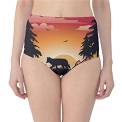 The Lonely Wolf In The Sunset High-Waist Bikini Bottoms