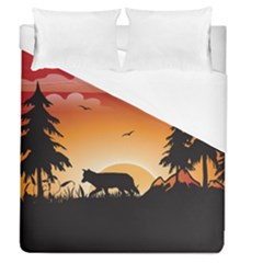 The Lonely Wolf In The Sunset Duvet Cover Single Side (full/queen Size)