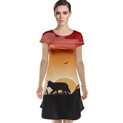 The Lonely Wolf In The Sunset Cap Sleeve Nightdresses
