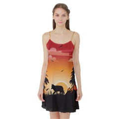 The Lonely Wolf In The Sunset Satin Night Slip