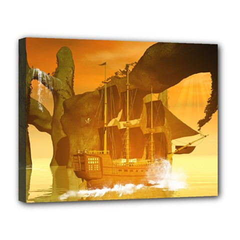 Awesome Sunset Over The Ocean With Ship Canvas 14  x 11