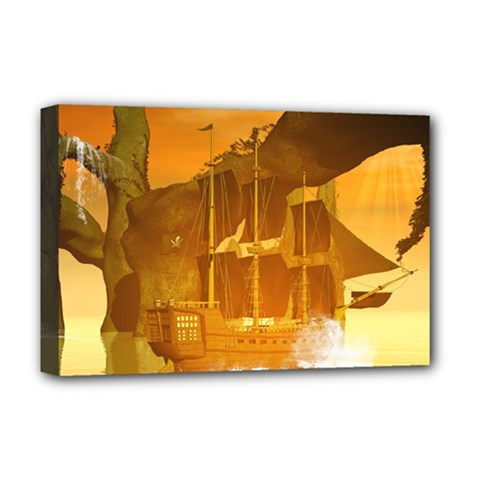 Awesome Sunset Over The Ocean With Ship Deluxe Canvas 18  x 12