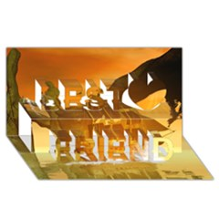 Awesome Sunset Over The Ocean With Ship Best Friends 3D Greeting Card (8x4)