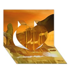 Awesome Sunset Over The Ocean With Ship Heart 3D Greeting Card (7x5)
