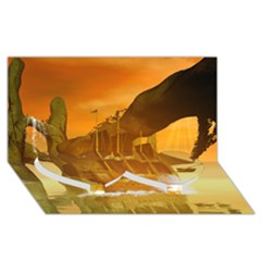 Awesome Sunset Over The Ocean With Ship Twin Heart Bottom 3d Greeting Card (8x4)