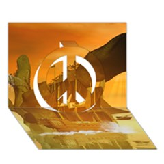 Awesome Sunset Over The Ocean With Ship Peace Sign 3d Greeting Card (7x5)