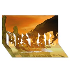 Awesome Sunset Over The Ocean With Ship Best Sis 3d Greeting Card (8x4)