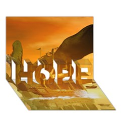 Awesome Sunset Over The Ocean With Ship HOPE 3D Greeting Card (7x5)