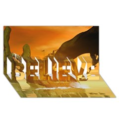 Awesome Sunset Over The Ocean With Ship BELIEVE 3D Greeting Card (8x4)