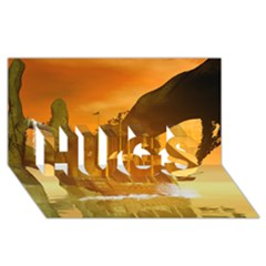Awesome Sunset Over The Ocean With Ship HUGS 3D Greeting Card (8x4)
