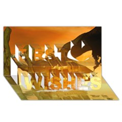 Awesome Sunset Over The Ocean With Ship Best Wish 3D Greeting Card (8x4)