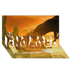 Awesome Sunset Over The Ocean With Ship ENGAGED 3D Greeting Card (8x4)