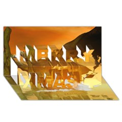 Awesome Sunset Over The Ocean With Ship Merry Xmas 3D Greeting Card (8x4)