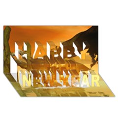 Awesome Sunset Over The Ocean With Ship Happy New Year 3d Greeting Card (8x4)