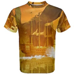 Awesome Sunset Over The Ocean With Ship Men s Cotton Tees