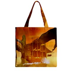 Awesome Sunset Over The Ocean With Ship Zipper Grocery Tote Bags