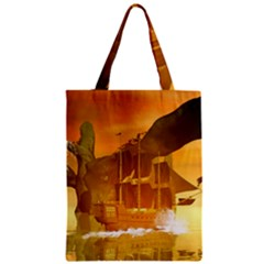 Awesome Sunset Over The Ocean With Ship Zipper Classic Tote Bags