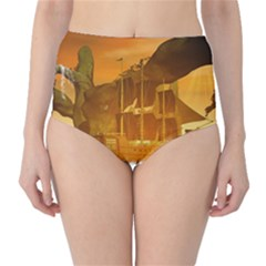 Awesome Sunset Over The Ocean With Ship High Waist Bikini Bottoms