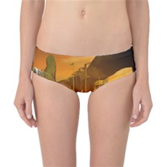 Awesome Sunset Over The Ocean With Ship Classic Bikini Bottoms