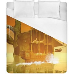 Awesome Sunset Over The Ocean With Ship Duvet Cover Single Side (double Size)