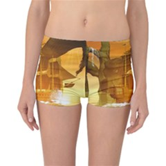 Awesome Sunset Over The Ocean With Ship Reversible Boyleg Bikini Bottoms
