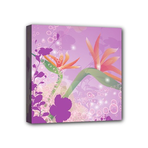 Wonderful Flowers On Soft Purple Background Mini Canvas 4  x 4