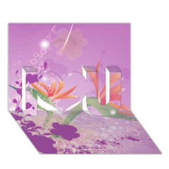 Wonderful Flowers On Soft Purple Background I Love You 3D Greeting Card (7x5)