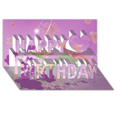 Wonderful Flowers On Soft Purple Background Happy Birthday 3d Greeting Card (8x4)