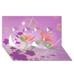Wonderful Flowers On Soft Purple Background Twin Hearts 3d Greeting Card (8x4)