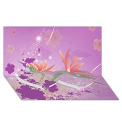 Wonderful Flowers On Soft Purple Background Twin Heart Bottom 3D Greeting Card (8x4)