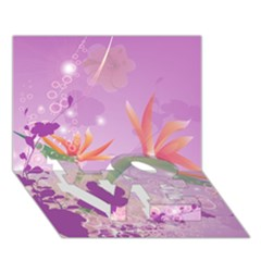 Wonderful Flowers On Soft Purple Background LOVE Bottom 3D Greeting Card (7x5)
