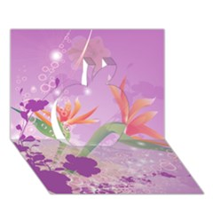 Wonderful Flowers On Soft Purple Background Apple 3d Greeting Card (7x5)