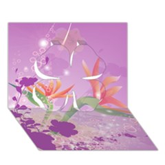 Wonderful Flowers On Soft Purple Background Clover 3d Greeting Card (7x5)