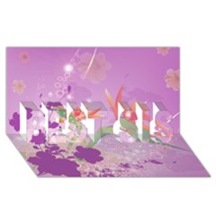 Wonderful Flowers On Soft Purple Background BEST SIS 3D Greeting Card (8x4)