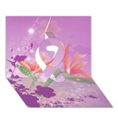 Wonderful Flowers On Soft Purple Background Ribbon 3d Greeting Card (7x5)
