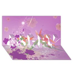 Wonderful Flowers On Soft Purple Background Sorry 3d Greeting Card (8x4)