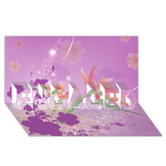 Wonderful Flowers On Soft Purple Background ENGAGED 3D Greeting Card (8x4)