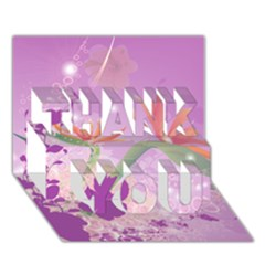 Wonderful Flowers On Soft Purple Background THANK YOU 3D Greeting Card (7x5)