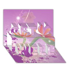 Wonderful Flowers On Soft Purple Background Get Well 3d Greeting Card (7x5)