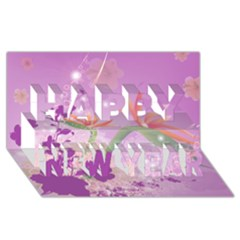 Wonderful Flowers On Soft Purple Background Happy New Year 3d Greeting Card (8x4)