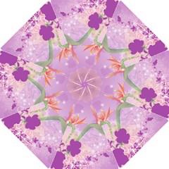 Wonderful Flowers On Soft Purple Background Hook Handle Umbrellas (Small)