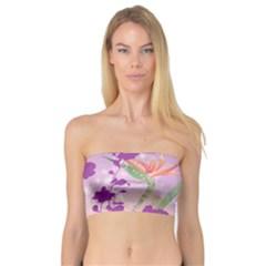 Wonderful Flowers On Soft Purple Background Women s Bandeau Tops