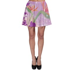 Wonderful Flowers On Soft Purple Background Skater Skirts