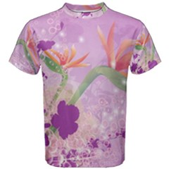 Wonderful Flowers On Soft Purple Background Men s Cotton Tees