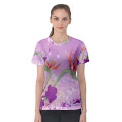 Wonderful Flowers On Soft Purple Background Women s Sport Mesh Tees