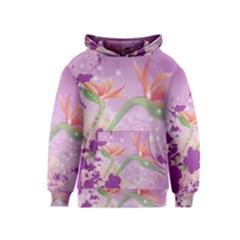 Wonderful Flowers On Soft Purple Background Kid s Pullover Hoodies