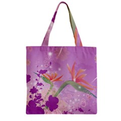 Wonderful Flowers On Soft Purple Background Zipper Grocery Tote Bags