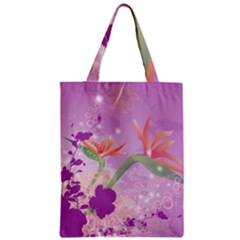 Wonderful Flowers On Soft Purple Background Zipper Classic Tote Bags