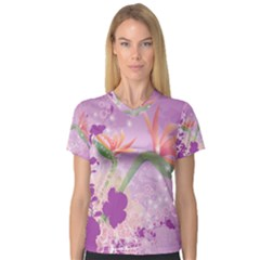 Wonderful Flowers On Soft Purple Background Women s V Neck Sport Mesh Tee